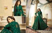 Designer and Havy Light Pink and Black Sleeveless Anarkali Suit