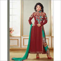 Maroon and Aqua Long Anarkali Suit