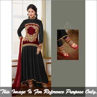 Maroon and Black Long Anarkali Suit