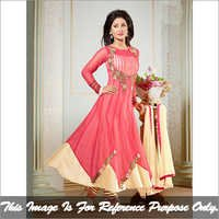 Pink and Cream Long Anarkali Suit