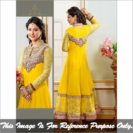 Yellow Long Anarkali Suit