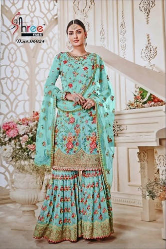 Indowestern Style Pink Embroidry Lehenga Suit With Full Sleeve