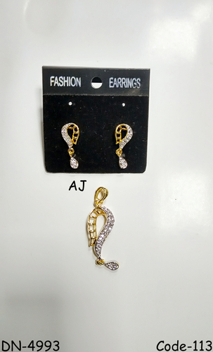 Delicate American Diamond Pendant Set