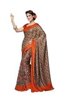 Browny Bhagalpuri Silk Orange Printed Saree