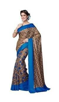 Browny Bhagalpuri Blue Printed Silk Saree