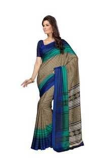 Browny Blue Printed Bhagalpuri Silk Saree