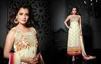 Creamy Embroidered Georgette Suit By Diya Mirza