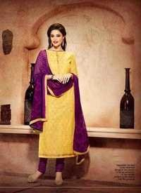 Yellow Chanderi Silk Suit