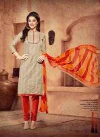 Beige Orange Chanderi Silk Suit