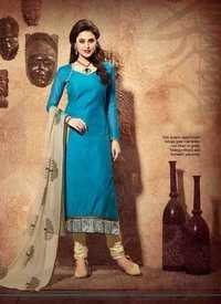 Blue&Cream Chanderi Silk Suit