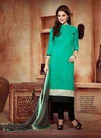 Sea Green Chanderi Silk Suit