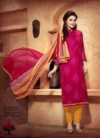Magenta with Yellow Chanderi Silk Suit