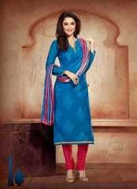 Navy With Red Chanderi Silk Suit