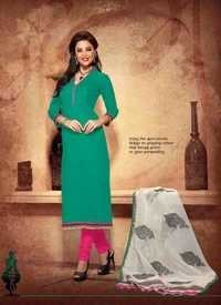 Sea Greenny Chanderi Silk Suit