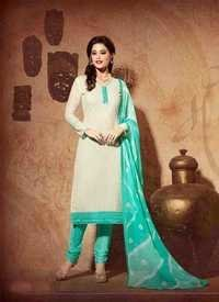 Creammy aqua Chanderi Silk Suit