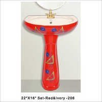 Colored Pedestal Ceramic Sink 22