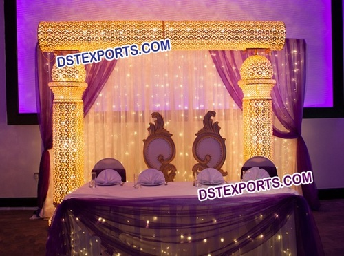 ASIAN WEDDING GOLD CRYSTAL STAGE