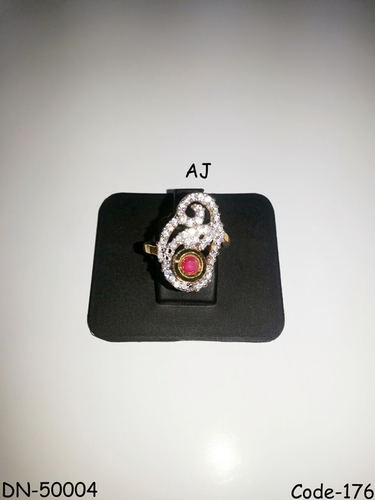 American Diamond Ring with Kundan