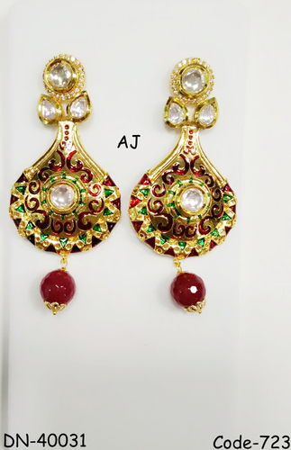 Kundan Earrings withAD Jewellery Antique Finish