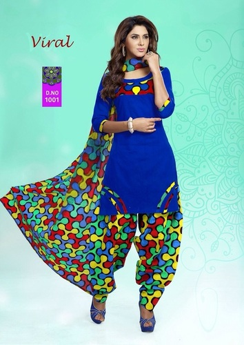 Blue Cotton Salwar Kameez Materials