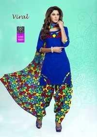 Blue Cotton Salwar Kameez Materials