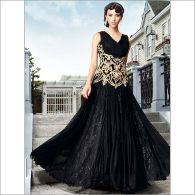 Black Net Wedding Gown