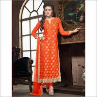 LONG STRAIGHT ORANGE EMBROIDRY SUIT WITH FULL SLEEVE