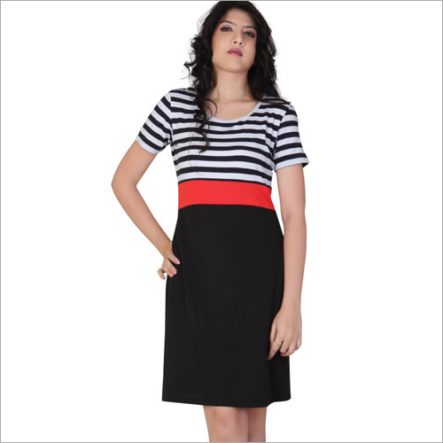 Red & Black Striped Short Dress