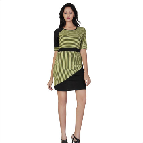 Yellow & Black Short Striped Dress
