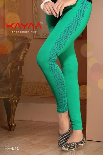 Green Color Lining Side Print Legging