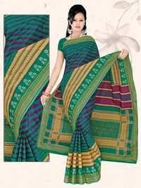 Dark Green Pure Cotton Saree