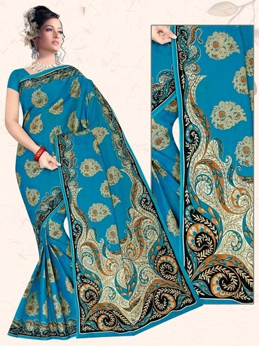 Sky Blue Stylish Cotton Saree