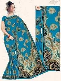 Sky Blue Stylish Cotton Saree