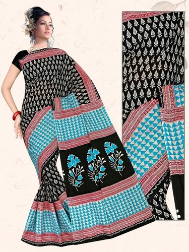 Black & Sky Blue Cotton Saree