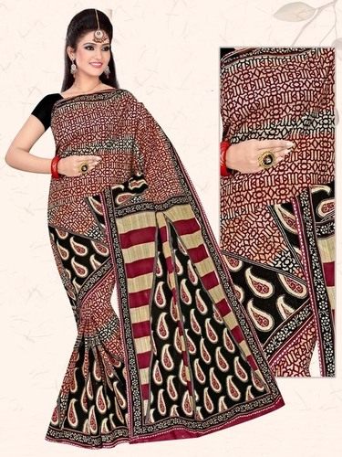 Black Red Cotton Saree