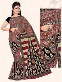 Black Red Cotton Saree