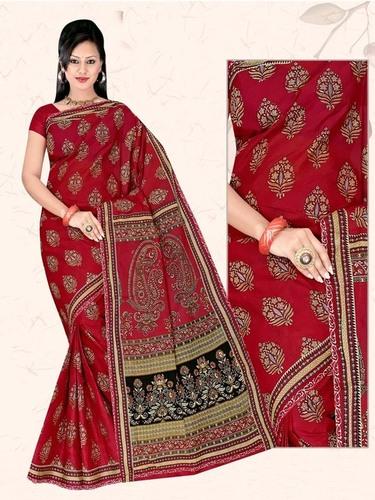 Dark Red Cotton Saree