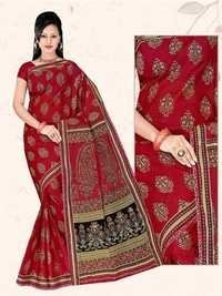 Dark Red Cotton Saree