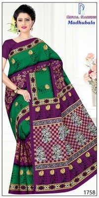 Madhubala Green Cotton Saree