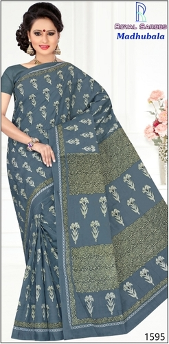 Madhubala Green Cotton Saree