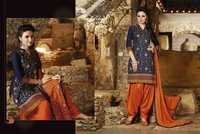 Navy Orange Cotton Embroidered Patiyala Suit