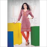Orange Full Printed Kurti