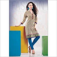 Navy Gray  Cambric Printed Kurti