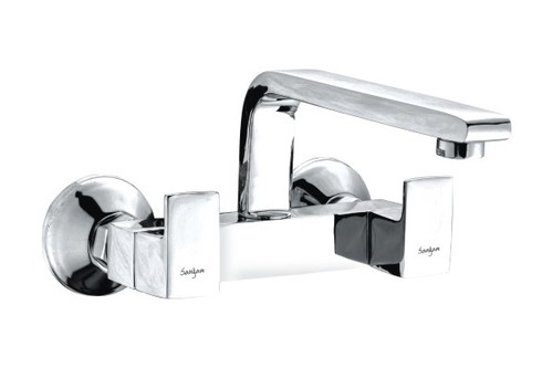 Wall Mixer Sink With Swinging Spout
