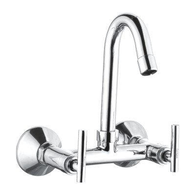 CP Wall Mixer Sink With Swivel J Spout