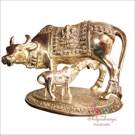 Metal Cow Calf Statue