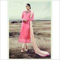 Simple Light Pink Silk Suit