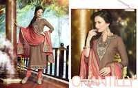 Beige Salmon Royal Embroidered Coton Salwar Suit