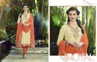 Creamy Orange Royal Embroidered Coton Salwar Suit