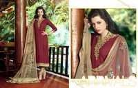 Creamy Maroon Royal Embroidered Cotton Salwar Suit